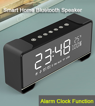 16W Latest Design Portable Bluetooth 4.2 Home Speakers with Alarm Clock