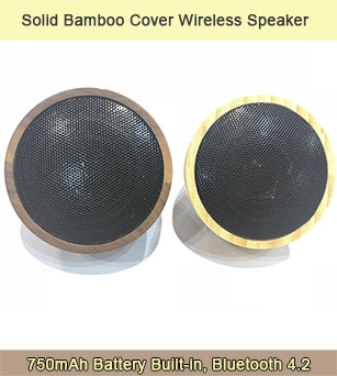 5W Solid Bamboo Cover Specially Designed Compact Bluetooth Speaker