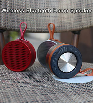 6W Long Battery Life Round Wireless Bluetooth Home Speaker with FM Radio
