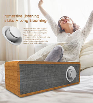 Wooden Bluetooth Speaker 4W with 1500mAh Battery Built-in