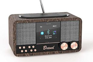 DAB Wooden 6W Bluetooth Speaker with FM/Clock/Wireless Charging