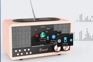 Internet Radio/DAB+ Wooden 6W Bluetooth Speaker with Bluetooth/FM/Clock/Wireless Charging