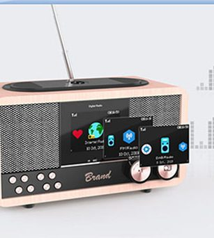 Internet Radio/DAB+ Wooden 6W Bluetooth Speaker with Bluetooth/FM/Clock/Wireless Charging